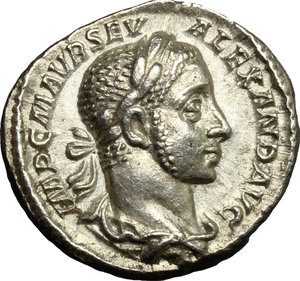 D/ Severus Alexander (222-235). AR Denarius, 222-228.  D/ Bust right, laureate, draped. R/ Aequitas standing left, holding scales and cornucopiae. RIC 127c. AR. g. 3.41  mm. 19.00   From masterly engraved dies. About EF.