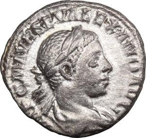 D/ Severus Alexander (222-235). AR Denarius, 222-228.  D/ Bust right, laureate, draped. R/ Jupiter standing left, holding thunderbolt and scepter. RIC 141c. AR. g. 2.63  mm. 18.00    VF/About VF.