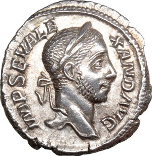 D/ Severus Alexander (222-235). AR Denarius, 228-231.  D/ Head right, laureate. R/ Perpetuitas or Securitas standing left, holding globe and scepter, leaning on column. RIC 208 var (no drapery). AR. g. 3.12  mm. 19.00    About EF/Good VF.