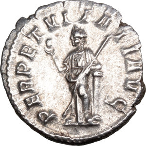 R/ Severus Alexander (222-235). AR Denarius, 228-231.  D/ Head right, laureate. R/ Perpetuitas or Securitas standing left, holding globe and scepter, leaning on column. RIC 208 var (no drapery). AR. g. 3.12  mm. 19.00    About EF/Good VF.