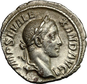 D/ Severus Alexander (222-235). AR Denarius, 228-231.  D/ Bust right, laureate, draped on left shoulder. R/ Perpetuitas or Securitas standing left, holding globe and scepter and leaning on column. RIC 208 var (no drapery). AR. g. 2.77  mm. 19.00   Toned. About EF/Good VF.