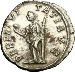 R/ Severus Alexander (222-235). AR Denarius, 228-231.  D/ Bust right, laureate, draped on left shoulder. R/ Perpetuitas or Securitas standing left, holding globe and scepter and leaning on column. RIC 208 var (no drapery). AR. g. 2.77  mm. 19.00   Toned. About EF/Good VF.