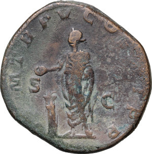 R/ Severus Alexander (222-235). AE Sestertius, 226 AD.  D/ Bust right, laureate, draped. R/ Emperor standing left, sacrificing from patera at lighted altar and holding roll. RIC 446c. AE. g. 24.50  mm. 31.00   Nice patina. About VF.
