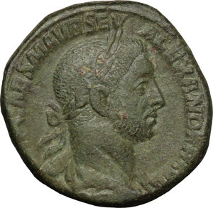 D/ Severus Alexander (222-235). AE Sestertius, 227 AD.  D/ Bust right, laureate, draped. R/ Pax running left, holding olive branch and scepter. RIC 465c. AE. g. 19.33  mm. 29.00   Dark green patina. On Rv. traces of double-struck. Tooled. VF/About VF.