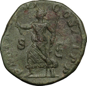 R/ Severus Alexander (222-235). AE Sestertius, 227 AD.  D/ Bust right, laureate, draped. R/ Pax running left, holding olive branch and scepter. RIC 465c. AE. g. 19.33  mm. 29.00   Dark green patina. On Rv. traces of double-struck. Tooled. VF/About VF.