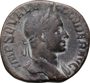 D/ Severus Alexander (222-235). AE Sestertius, 230 AD.  D/ Bust right, laureate, draped. R/ Sol standing left, wearing chlamys over shoulder, raising right hand and holding globe in left. RIC 503. AE. g. 15.96  mm. 29.00   Nice patina. About VF/Good F.