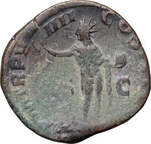 R/ Severus Alexander (222-235). AE Sestertius, 230 AD.  D/ Bust right, laureate, draped. R/ Sol standing left, wearing chlamys over shoulder, raising right hand and holding globe in left. RIC 503. AE. g. 15.96  mm. 29.00   Nice patina. About VF/Good F.