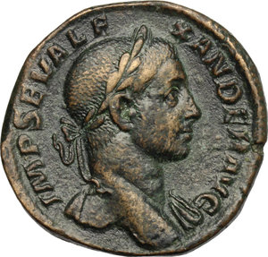 D/ Severus Alexander (222-235). AR Sestertius, 222-231.  D/ Bust right, laureate, draped on left shoulder. R/ Emperor standing left in military attire, holding globe and spear, right foot on helmet. RIC 627. AE. g. 20.21  mm. 30.00   Nice patina. Good VF.