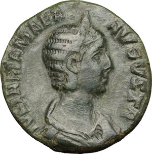 D/ Julia Mamaea (died 235 AD). AE Sestertius, 222-235.  D/ Bust right, diademed, draped. R/ Vesta standing left, holding palladium and spear. RIC (Severus Alexander) 709. AE. g. 17.55  mm. 29.00   Green patina. VF/About VF.