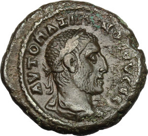 D/ Maximinus Thrax (235-238). AE Tetradrachm, Alexandria mint, 237-238.  D/ Bust right, laureate, draped, cuirassed. R/ Athena standing frontal, head left, holding spear, leaning on shield set on ground. Kampmann 65.58. AE. g. 11.78  mm. 24.00   Dark green patina. About VF.