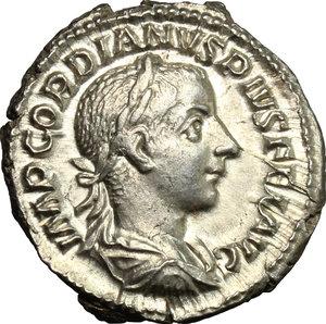 D/ Gordian III (238-244). AR Denarius, 241 AD.  D/ Bust right, laureate, draped, cuirassed. R/ Pietas standing front, head turned left, hands raised for prayer. RIC 129. AR. g. 3.21  mm. 20.00    EF.