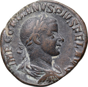 D/ Gordian III (238-244). AE Sestertius, 241-244.  D/ Bust right, laureate, draped, cuirassed. R/ Sol standing left, wearing chlamys over shoulder, raising right hand and holding globe in left. RIC 297. AE. g. 17.21  mm. 29.00   Dark earthy green patina. About VF.