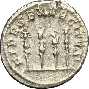 R/ Philip I (244-249). AR Antoninianus, 247-249.  D/ Bust, radiate, draped, cuirassed. R/ Four standards. RIC 62. AR. g. 4.19  mm. 22.00    VF/About VF.