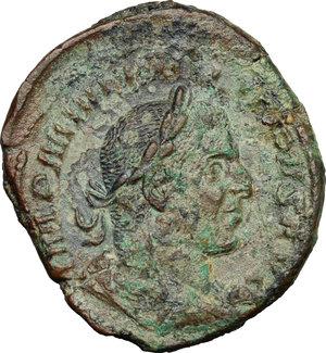 D/ Philip I (244-249). AE Sestertius, 248 AD.  D/ Bust right, laureate, draped, cuirassed. R/ Lupa Romana standing left, suckling twins. RIC 159. AE. g. 18.81  mm. 32.00   Green patina. Good F.
