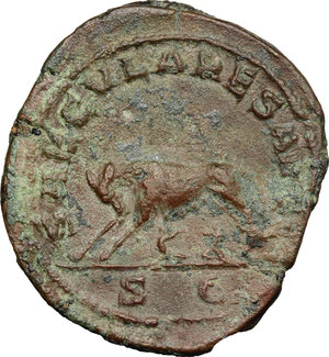R/ Philip I (244-249). AE Sestertius, 248 AD.  D/ Bust right, laureate, draped, cuirassed. R/ Lupa Romana standing left, suckling twins. RIC 159. AE. g. 18.81  mm. 32.00   Green patina. Good F.
