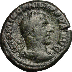 D/ Philip I (244-249). AE As, 244-249.  D/ Bust right, laureate, draped, cuirassed. R/ Aequitas standing left, holding scales and cornucopiae. RIC 166. AE. g. 12.80  mm. 25.00    Good F.