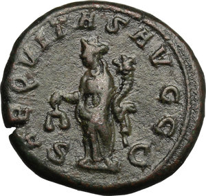 R/ Philip I (244-249). AE As, 244-249.  D/ Bust right, laureate, draped, cuirassed. R/ Aequitas standing left, holding scales and cornucopiae. RIC 166. AE. g. 12.80  mm. 25.00    Good F.