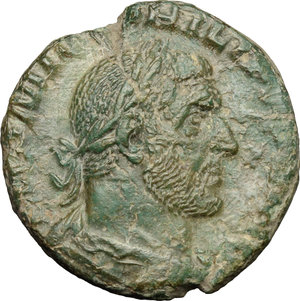 D/ Philip I (244-249). AE 22mm, 244-249.  D/ Bust right, laureate, draped, cuirassed. R/ Aequitas standing left, holding scales and cornucopiae. RIC 166. AE. g. 7.22  mm. 22.00   Olive-green patina. About VF.
