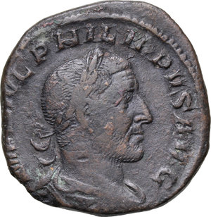D/ Philip I (244-249). AE Sestertius, 244-249.  D/ Bust right, laureate, draped. R/ Laetitia standing left, holding wreath and rudder. RIC 175B. AE. g. 19.18  mm. 30.00    About VF.