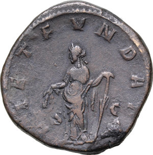 R/ Philip I (244-249). AE Sestertius, 244-249.  D/ Bust right, laureate, draped. R/ Laetitia standing left, holding wreath and rudder. RIC 175B. AE. g. 19.18  mm. 30.00    About VF.