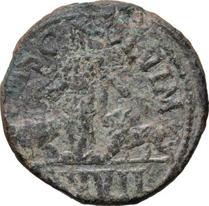 R/ Philip I (244-249). AE 28mm, Moesia Superior, Viminacium mint, 246 AD.  D/ Bust right, laureate, draped, cuirassed. R/ Moesia standing left; to left, bull; to right, lion. Sear 3874. AE. g. 18.73  mm. 28.00   Nice greenish patina. Good F.