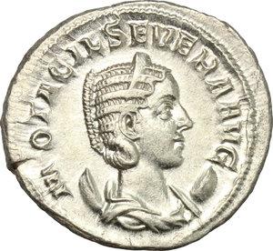 D/ Otacilia Severa, wife of Philip I (244-249). AR Antoninianus, 246-248.  D/ Bust right, diademed, draped, on crescent. R/ Concordia seated left, holding patera and cornucopiae. RIC (Philip I) 126. AR. g. 4.22  mm. 23.00    About EF/Good VF.