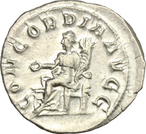 R/ Otacilia Severa, wife of Philip I (244-249). AR Antoninianus, 246-248.  D/ Bust right, diademed, draped, on crescent. R/ Concordia seated left, holding patera and cornucopiae. RIC (Philip I) 126. AR. g. 4.22  mm. 23.00    About EF/Good VF.