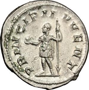 R/ Philip II (244-249). AR Antoninianus, 244-246.  D/ Bust of Philip II right, radiate, draped, cuirassed. R/ Philip II standing left, holding globe and reversed spear. RIC 218d. AR. g. 3.76  mm. 23.00    Good VF.