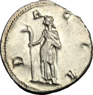 R/ Trajan Decius (249-251). AR Antoninianus, 249-251.  D/ Bust right, radiate, draped, cuirassed. R/ Dacia standing left, holding staff with head of ass. RIC 13. AR. g. 4.19  mm. 21.00    About EF.