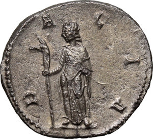 R/ Trajan Decius (249-251). AR Antoninianus, 249-251.  D/ Bust right, radiate, cuirassed. R/ Dacia standing left, holding long staff with head of ass. RIC 13. AR. g. 3.48  mm. 22.00   From masterly engraved dies. VF.