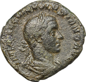 D/ Volusian (251-253). AE Sestertius, 251-253.  D/ Bust right, laureate, draped, cuirassed. R/ Pax standing left, holding branch and scepter. RIC 256. AE. g. 16.60  mm. 30.00    F.