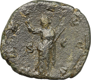 R/ Volusian (251-253). AE Sestertius, 251-253.  D/ Bust right, laureate, draped, cuirassed. R/ Pax standing left, holding branch and scepter. RIC 256. AE. g. 16.60  mm. 30.00    F.