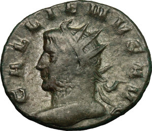 D/ Gallienus (253-268). BI Antoninianus, 260-268.  D/ Head left, radiate. R/ Laetitia standing left, holding wreath and anchor. RIC 226. BI. g. 3.21  mm. 21.00   Heavily toned. About VF/Good F.