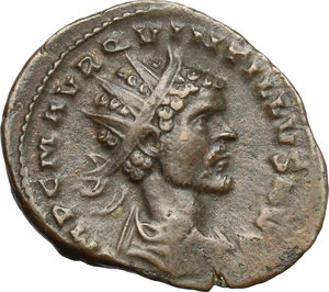 D/ Quintillus (270 AD). BI Antoninianus, Siscia mint, 270 AD.  D/ Bust right, radiate, draped, cuirassed. R/ Libertas standing left, holding pileus and cornucopiae. RIC 86. BI. g. 3.81  mm. 22.00   Heavily toned. About VF/Good F.