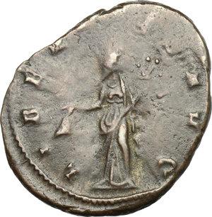 R/ Quintillus (270 AD). BI Antoninianus, Siscia mint, 270 AD.  D/ Bust right, radiate, draped, cuirassed. R/ Libertas standing left, holding pileus and cornucopiae. RIC 86. BI. g. 3.81  mm. 22.00   Heavily toned. About VF/Good F.