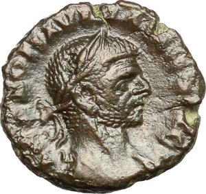 D/ Aurelian (270-275). AE Tetradrachm, Alexandria mint, 274-275.  D/ Bust right, laureate, cuirassed. R/ Eagle standing right, holding wreath in beak and palm in wings. Kampmann 106.55. AE. g. 7.04  mm. 20.00   Glossy patina. VF/About VF.