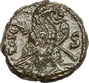R/ Aurelian (270-275). AE Tetradrachm, Alexandria mint, 274-275.  D/ Bust right, laureate, cuirassed. R/ Eagle standing right, holding wreath in beak and palm in wings. Kampmann 106.55. AE. g. 7.04  mm. 20.00   Glossy patina. VF/About VF.
