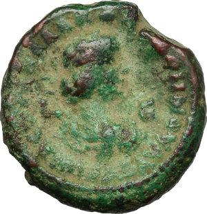 R/ Aurelian with Vabalathus (270-275). AE Tetradrachm, Alexandria mint, 271-272.  D/ Bust of Aurelian right, laureate, draped, cuirassed. R/ Bust of Vabalathus right diademed, draped, cuirassed. Kampmann 106.72. AE. g. 10.68  mm. 21.00   Green patina. Good F.