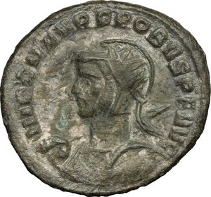 D/ Probus (276-282). BI Antoninianus, 276-282.  D/ Bust left, radiate, helmeted, cuirassed, holding spear and shield. R/ Emperor riding right, spearing enemy. RIC 877. BI. g. 3.75  mm. 23.00   Toned. VF/About VF.