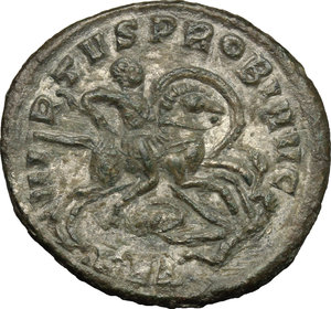 R/ Probus (276-282). BI Antoninianus, 276-282.  D/ Bust left, radiate, helmeted, cuirassed, holding spear and shield. R/ Emperor riding right, spearing enemy. RIC 877. BI. g. 3.75  mm. 23.00   Toned. VF/About VF.