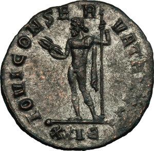 R/ Maximian (286-310). BI Antoninianus, 285-286.  D/ Bust right, radiate, draped, cuirassed. R/ Jupiter standing left, cloak hanging from left shoulder, holding thunderbolt and scepter. RIC V, 506. BI. g. 3.27  mm. 21.00   Heavily toned. VF.