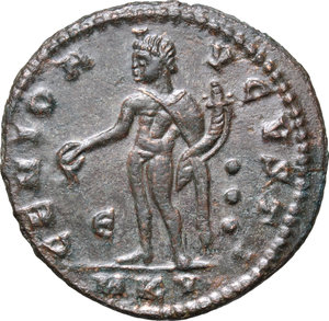 R/ Galerius (305-311). AE 25mm, Cyzicus mint, 311 AD.  D/ Head right, laureate. R/ Genius standing left, wearing modius on head and chlamys over left shoulder, pouring liquid from patera and holding cornucopiae. RIC 65. AE. g. 7.04  mm. 25.00    VF.