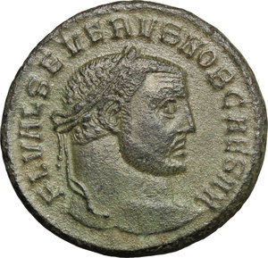 D/ Severus II as Caesar (305-306). AE Follis, Serdica mint, 305-306.  D/ Head right, laureate. R/ Genius standing left, wearing modius on head and chlamys over left shoulder, pouring liquid from patera and holding cornucopiae. RIC 13a. AE. g. 2.63  mm. 26.50  R. Earthy green patina. Good VF.
