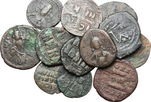 obverse: Multiple lot of 13 Byzantine AE coins, 6th-12th century