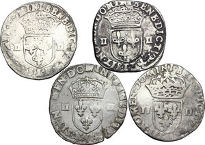 obverse: Multiple lot of 4 AR 1/4 Ecu, France, including: Louis XII, Henry III, Henry IV, Louis XIII
