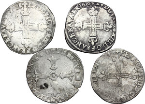 reverse: Multiple lot of 4 AR 1/4 Ecu, France, including: Louis XII, Henry III, Henry IV, Louis XIII
