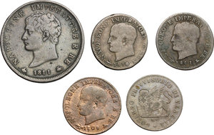obverse: Multiple lot of 5 coins, Italy, including: Napoleon 5 Centesimi 1809, 1810, 1811, Napoleon Soldo Milan mint 1811, Venice 15 centesimi 1848