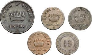 reverse: Multiple lot of 5 coins, Italy, including: Napoleon 5 Centesimi 1809, 1810, 1811, Napoleon Soldo Milan mint 1811, Venice 15 centesimi 1848