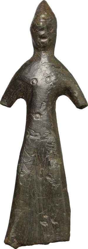 Bronze  ombra della sera  figure.  Central Italy, 4th-3rd century BC.  63 mm