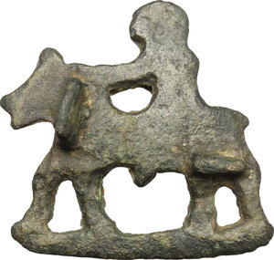 Bronze fibula in the shape of horse with rider.  Roman period, 1st-3rd century AD.  30 x 29 mm